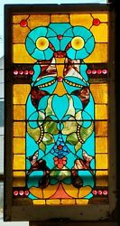 Antique Vertical Stained Glass Chunk Jewel Window