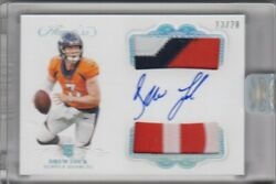 2019 Flawless Drew Lock Rookie On Card Auto Dual Patch Card /20 -- Broncos