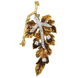Vintage Textured 18k Yellow Gold And 1.00ct Diamond Large Leaf Pin, 17.2 G, 3d