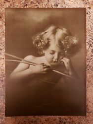 Antique Taber Prang Art Company Cupid Asleep 1895 Photograph Print 12x9 Inches