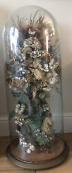 Rare Large French 19th Century Wedding Display Flowers Vase Glass Dome Cloche