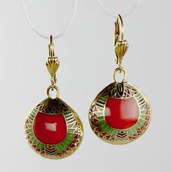 Vintage Shashi Red Scarab Earrings Museum Of Jewelry