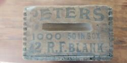 Antique 1920s Peters 22 Blanks Wooden Ammo Crate - Neat Crate