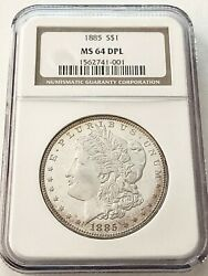 Sale--1885- U.s. Morgan Silver Dollar Graded/slabbed By Ngc In Ms-64, Dimple