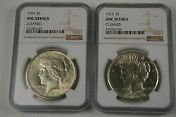 Two Peace Dollars 1924-1925, Ngc Unc Details Cleaned