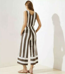 New LOFT Beach Striped Wide Leg Cropped Jumpsuit XL Romper Retails $79 $29.98