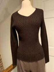 Valentino Brown Curved Rib Knit Cashmere Sweater V Neck Long Sleeve Size Medium