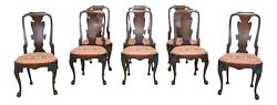Lf49990ec Set Of 8 Vintage High Quality English Dining Room Chairs