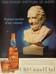 1961 Old Grand Dad Bourbon Whiskey 100 Proof Bottle Shot Glass Head Print Ad