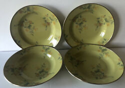 Mackenzie Childs Victoria And Richard Hand Signed 4 Green Floral Camp Soup Bowls