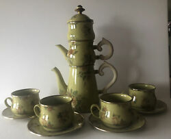 Mackenzie Childs Victoria/richard Hand Signed Stacked Teapot And 4 Cup/saucer Set