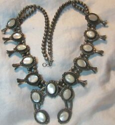 Native American Old Mother Of Pearl Mop Silver Squash Blossom Necklace