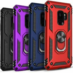 For Samsung Galaxy S9 / S9 Plus Case Ring Kickstand + Tempered Glass Protector