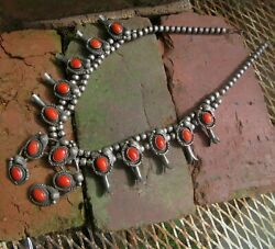 Native American Old Red Coral Silver Squash Blossom Necklace