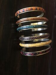 Vintage 1983 Italy Leather Inlay Gold Tone Cuff Bracelets Set Of 6 Skins Bangles