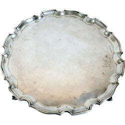 Antique English S.g. Jacobs Chippendale Style Sterling Silver Salver 1936
