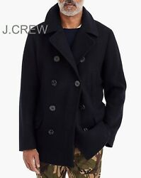 J.crew Pea Coat Jacket Military Navy Blue Black Double Breasted Wool Insulated X
