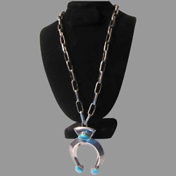 Native American Necklace Sterling Silver Chain Sand Cast Naga With Turquoise
