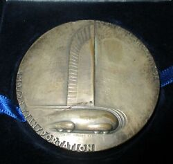 1933 Silver-plated General Motors Medal 25th Anniversary Norman Bel Geddes 76 Mm