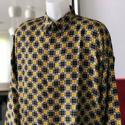 Gianni Versace Istante Silk Shirt Barocco And Squares Print Size It 52 From 1996