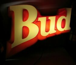 Large Vintage Budweiser Bud Beer 3-d Lighted Wall Hanging Sign Local Pickup Only