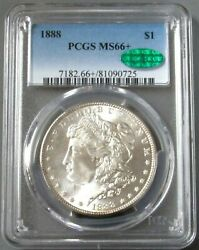 1888 Usa Morgan Silver Dollar Pcgs Mint State 66+ Cac