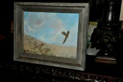Beautiful Hunting Dogs With Pheasant Painting By Listed Artist