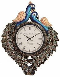Handpainted Wooden Peacock Analog Wall Clock Antique Look For Home 16x12 Inch
