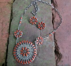 Native American Silver Coral Cluster Necklace Earring Set Signed Zuni