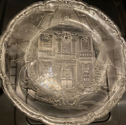 Crystal Glass Etched Glass Christmas Holiday Platter Serving Tray Home Vintage