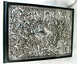 Sterling Silver Address Book Rococo Black Leather Sheffield England