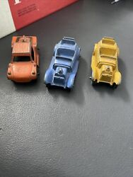 Lot Of 3 Antique Tootsie Metal Toy Cars Rubber Wheels Roadster And Truck 1930's