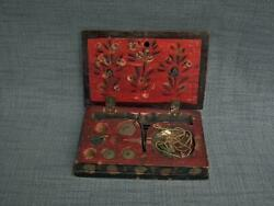 Antique Islamic Turkish Ottoman Coin Gold Scales In Painted Box Arabic Alphabet