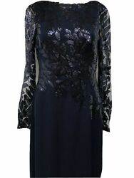 Tadashi Shoji NEW Navy Embroidered Sequin Floral Lace Evening Gown Formal Dress $93.00