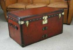 Antique Handmade Leather Occasional Side Table Trunks