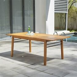 Vifah Gloucester Contemporary Solid Wood Patio Dining Table In Golden Oak
