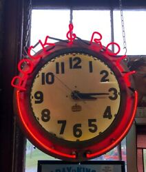 Vintage Neon Advertising Clock Rock And Roll Shipping Available