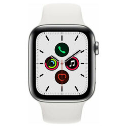 Apple Watch Series 5 Gps + Cellular 44mm Stainless Steel Case And White Sport Band