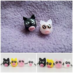 925 Sterling Silver Piggy 3d Murano Glass Animal Cute Pig Colorful Charm Beads