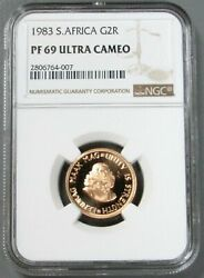 1983 Gold South Africa 2 Rand Van Riebeeck Coin Ngc Proof 69 Ultra Cameo Pop 2/0