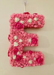 """Letter Initial E Wall Hanging Roses Wall Girl Room Nursery Front Door Baby 14"""""""
