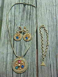 Lot Costume Eastern Star Free Masons Jobs Daughters Bracelet Earrings And Necklace
