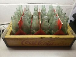 Vintage Wooden Wood Coca-cola Coke Soda Crate Pack With 24 Glass Bottles 1969