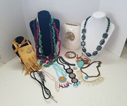 Native American Lot Child's Leather Purse, Agate And Maize Corn Necklaces, Beaded