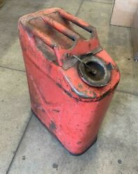 Vintage 5 Gal. Red Gas Can Fuel Jerry Jeep Truck Military