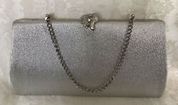 VTG Textured Metallic Silver Clutch Purse Rhinestone Leaf Clasp Chain Strap $11.50