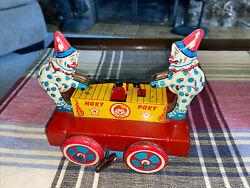 Antique Hoky Poky Tin Wind Up Toy Hand-car Clowns Excellent-works M-654 B -1557