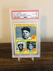 1973 Topps 1 All Time Hr Ldrs Babe Ruth Hank Aaron Willie Mays Psa 6 Centered