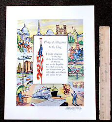 1950s Official Pledge Of Allegiance Vintage Poster Print W/us Marine Corps Women