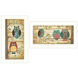 Whimsical Owls 2-piece Vignette By Annie Lapoint Printed Art Wood Multi-color